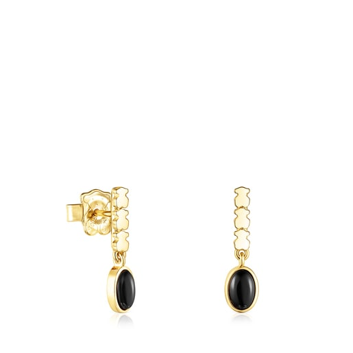 Silver Vermeil Straight Earrings with Onyx