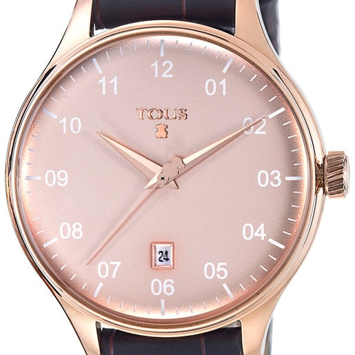 Uhr 1920 aus rosa IP Stahl mit braunem Lederarmband