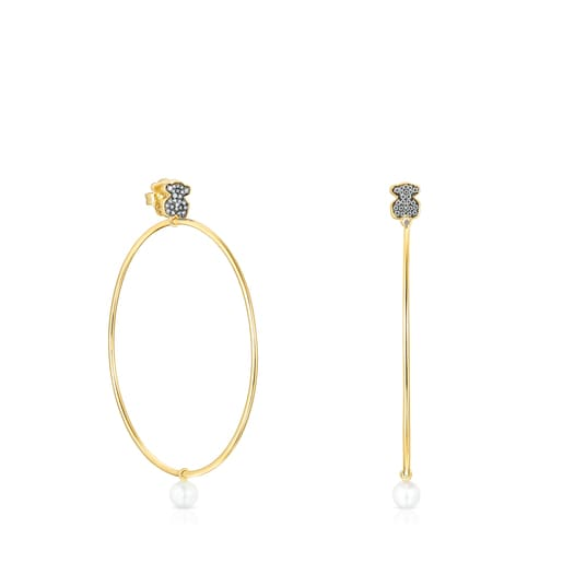 Large Nocturne Earrings in Silver Vermeil with Diamonds and Pearl