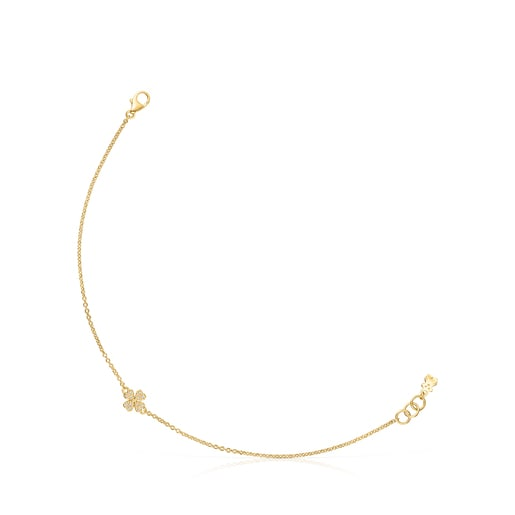 Gold TOUS Good Vibes clover Bracelet with Diamonds
