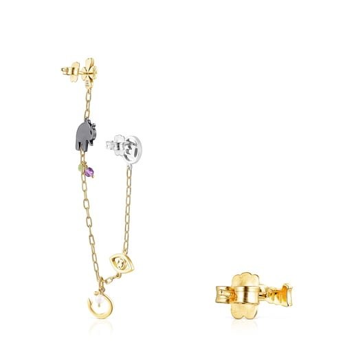 Silver Vermeil, Silver and Dark Silver TOUS Good Vibes Earrings with Gemstones