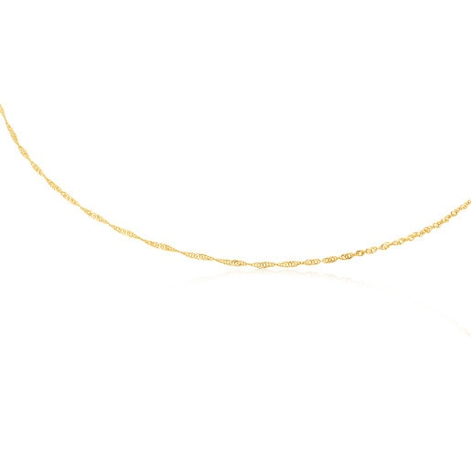 Enge Halskette TOUS Chain in Spiralform aus Gold, 45cm lang.