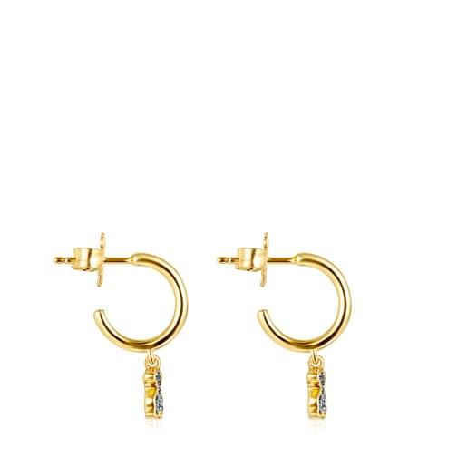 Short Nocturne bear Earrings in Silver Vermeil with Diamonds
