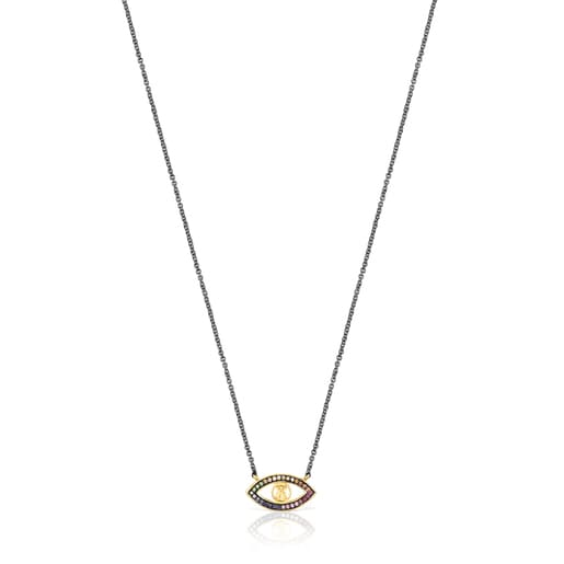 Silver Vermeil and Dark Silver TOUS Good Vibes eye Necklace with Gemstones