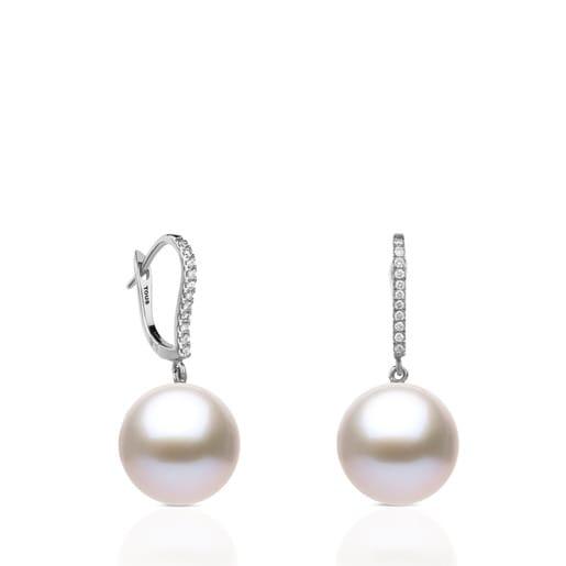 Pendientes ATELIER Novias de oro blanco con perlas y diamantes