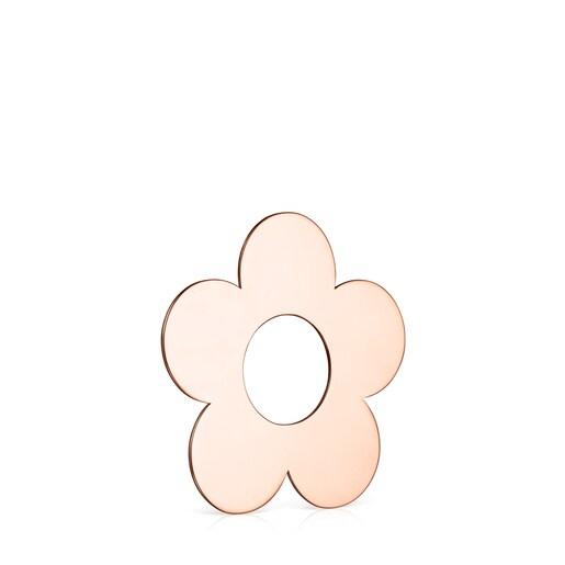 Colgante grande Hold Metal flor de Plata Vermeil rosa