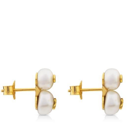Brincos Icon Pearl em Ouro com Pérola e Diamante