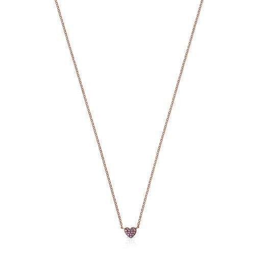 Herz-Halskette San Valentín aus Vermeil-Roségold mit Rubin