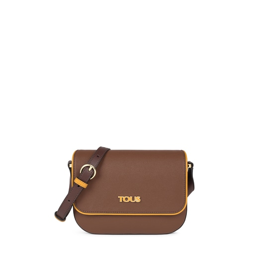 Brown and mustard colored TOUS Essential Crossbody bag