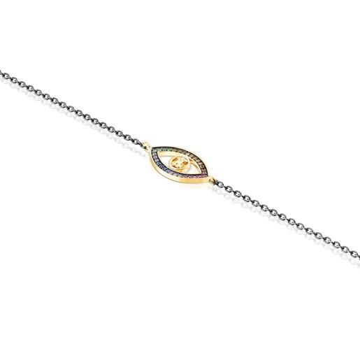 Pulsera TOUS Good Vibes ojo de plata vermeil, plata dark silver y gemas