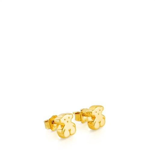 Gold Sweet Dolls Earrings Bear motif. Push back.