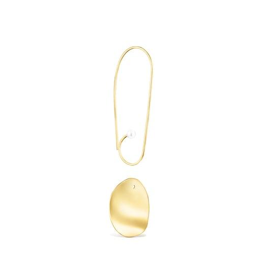 Long Silver Vermeil Nenufar petal Earrings with Pearls