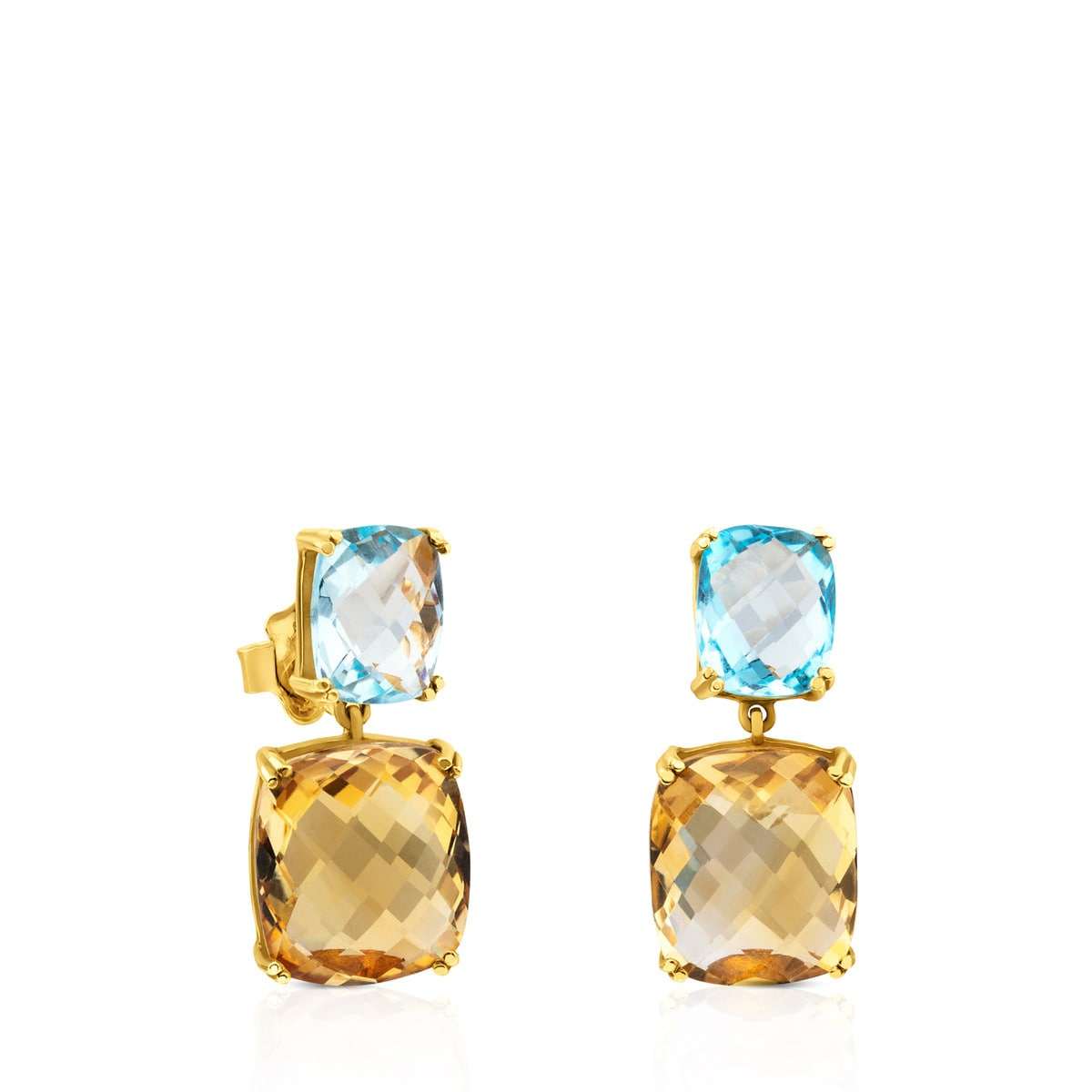 66622f47e97 ATELIER Color Earrings in Gold with blue Topaz and Citrine