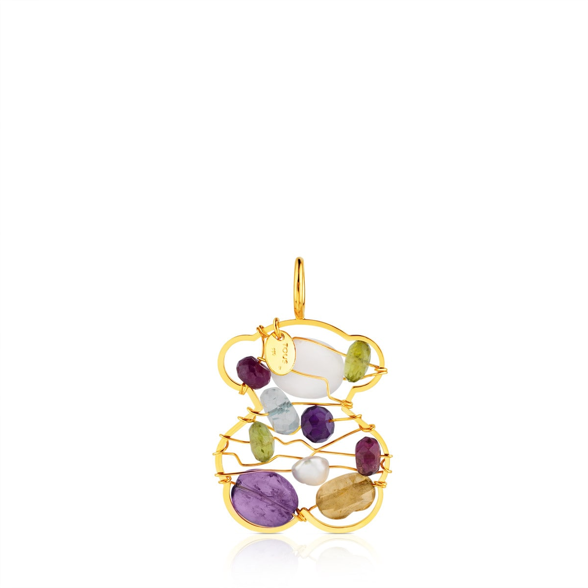 Gold Garabato Pendant with Gemstones