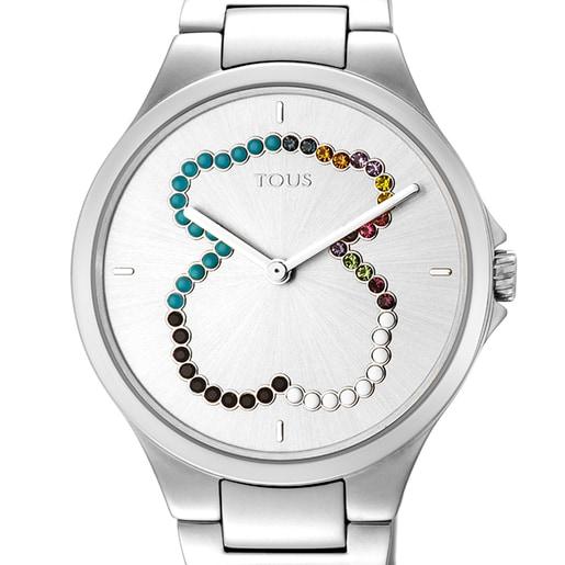 Relógio Motion Straight urso em aço com cristais