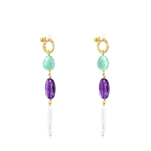 Long Gold Luz Earrings with Gemstones