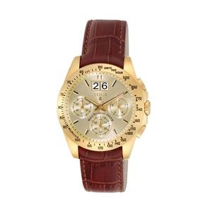 Gold IP Steel Drive Crono Watch with brown Leather strap