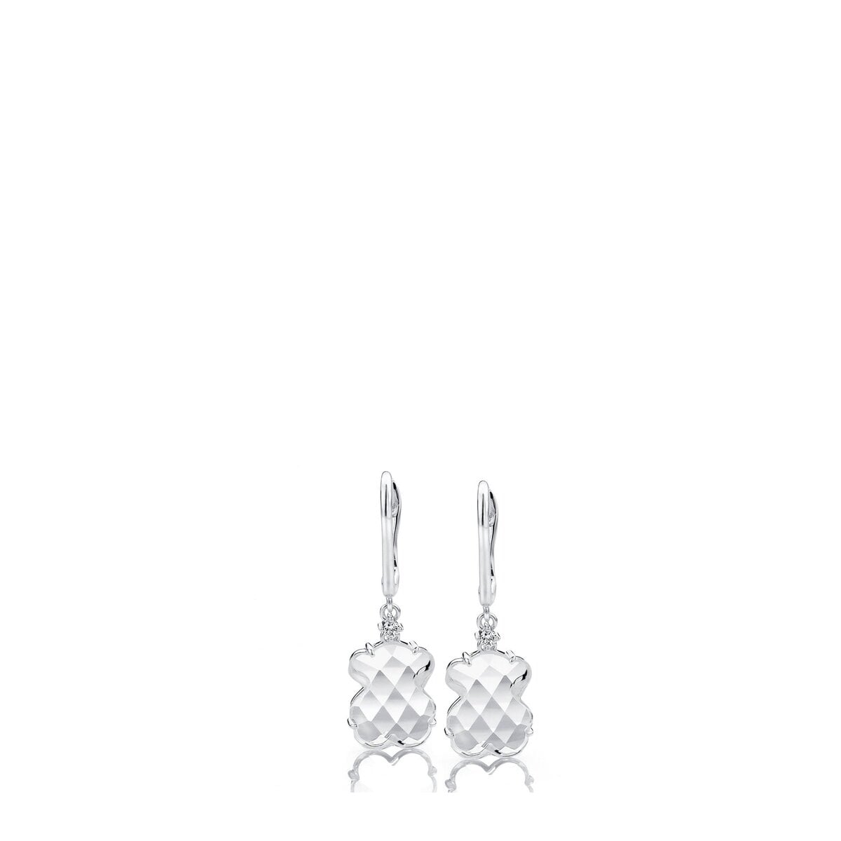 White Gold Ice Earrings with Rock Crystal and Diamond