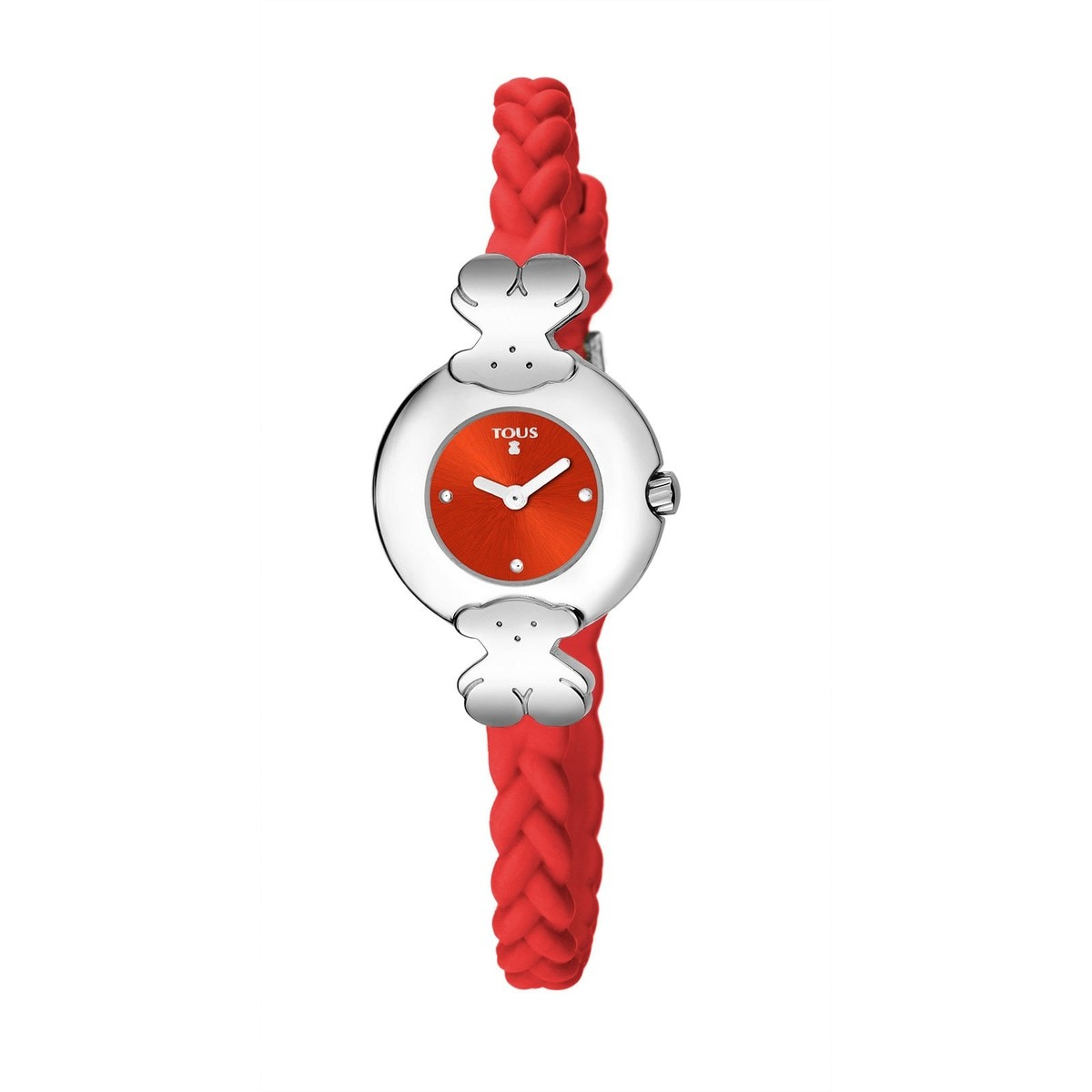 Steel Très Chic Watch with coral Silicone strap