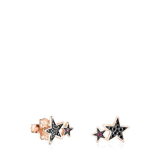 Aretes Teddy Bear Stars de plata vermeil rosa, espinela y rubí