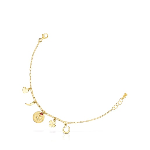 Silver Vermeil TOUS Good Vibes Mama Bracelet with Ruby
