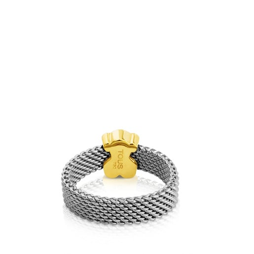Steel and Gold Sweet Dolls Ring