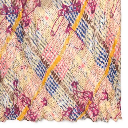 Pañuelo Tile Exene Plis rosa y amarillo de seda