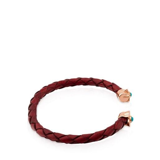 Bracelet Super Power en Cuir de couleur grenat avec Argent Vermeil rose et Turquoise