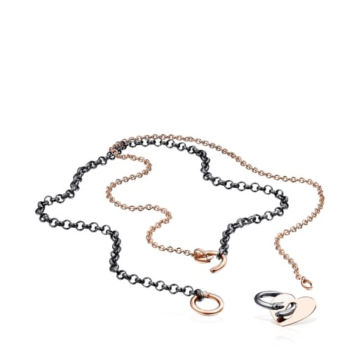 Κολιέ-Καρδιά  Hold Metal από Ροζ Χρυσό Vermeil και Ασήμι Dark Silver