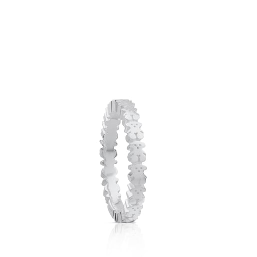 Silver TOUS Straight Ring with Bear motifs