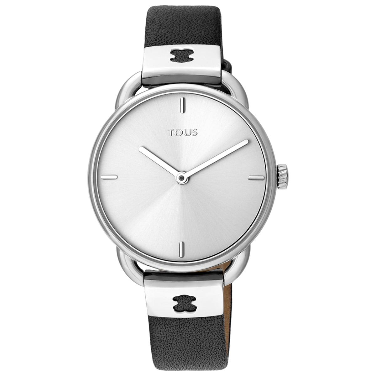 Reloj Let Leather de acero con correa de piel negra