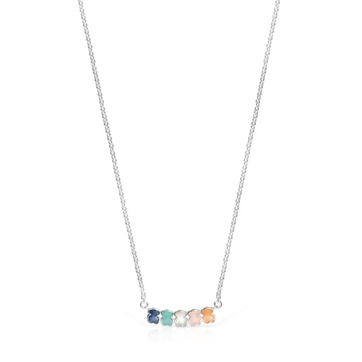 Collar Mini Color de Plata con Gemas