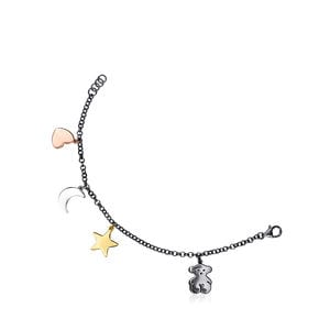 Dark Silver Sweet Dolls Bracelet with Gold Vermeil, rose Gold Vermeil and Silver