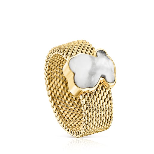 Gold-colored IP Steel Mesh Color Ring with Howlite