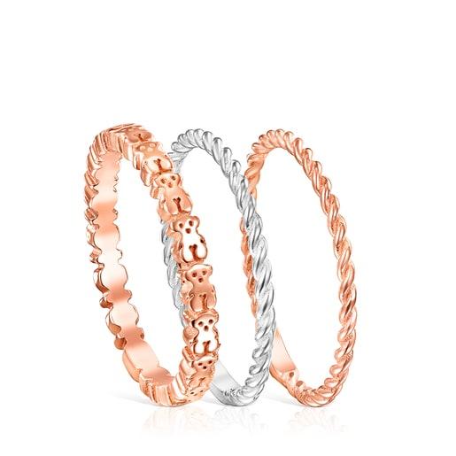 Pack de Anéis Ring Mix em Prata, Prata Vermeil e Prata Vermeil rosa