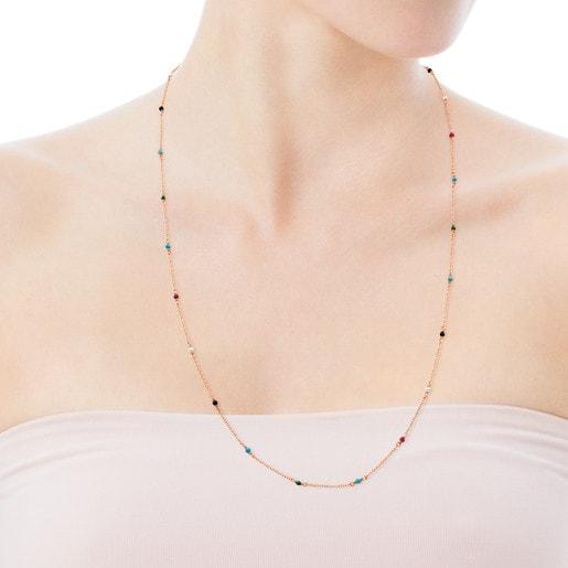 Collar Super Power de Plata Vermeil rosa con Gemas multicolores 90cm.
