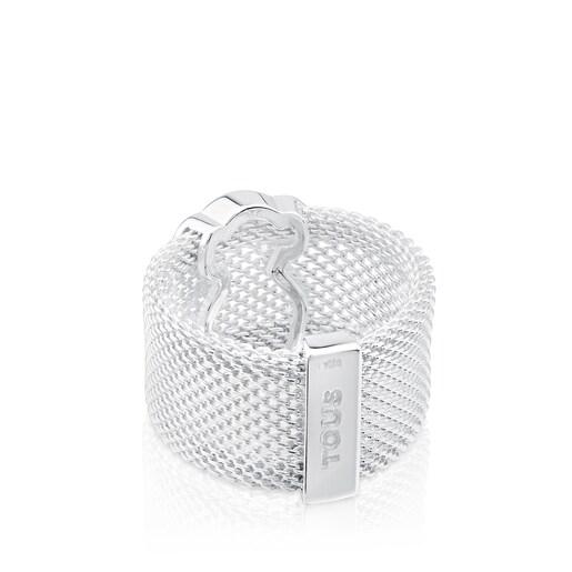 Silver TOUS Mesh Ring 1cm Bear silouette