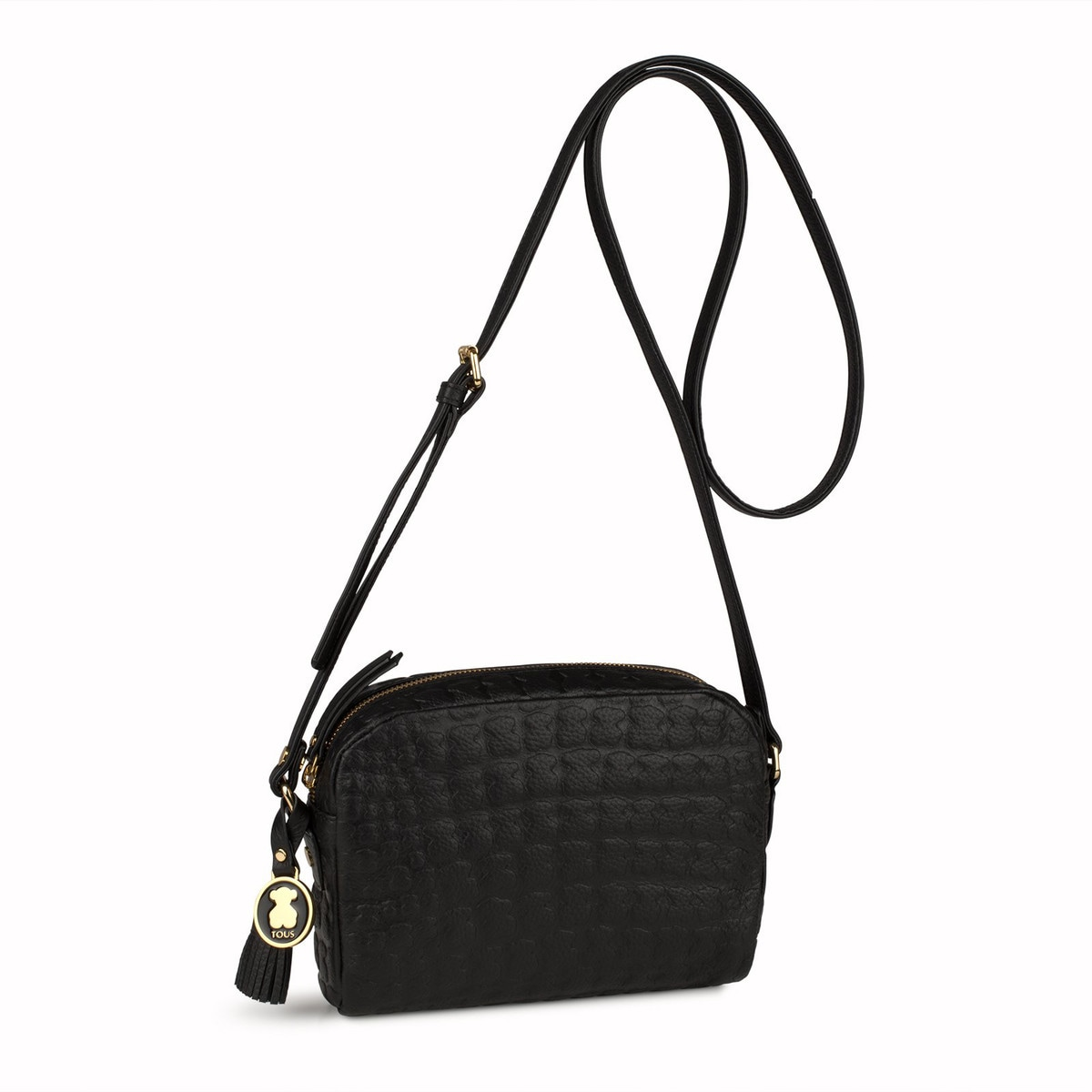 7daae7b3832 Black Leather Sherton Crossbody bag - Tous Site GB