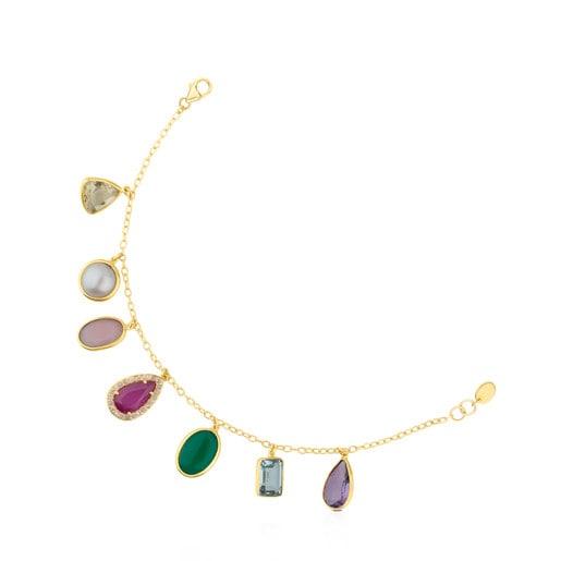 Gold Gem Power Bracelet with Gemstones and Diamonds