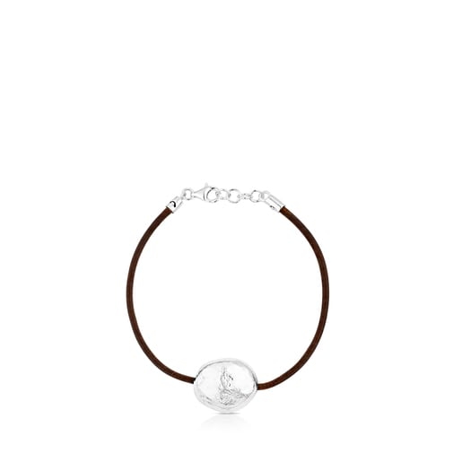 Silver and Leather Duna Bracelet.