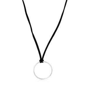 Silver Straight disc Necklace with black Cord