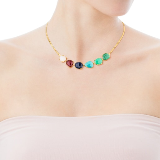 Gold Beethoven Necklace with six multicolour gemstones