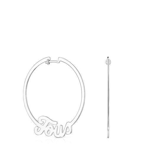 Silver TOUS Logo Earrings