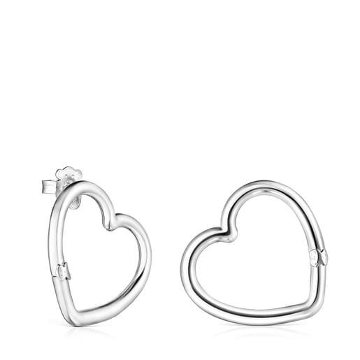 Medium Silver Hold heart Earrings