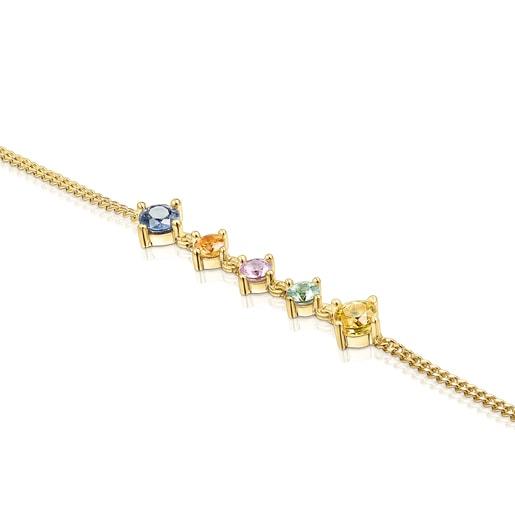 Pulsera Glaring de plata vermeil con zafiros multicolor
