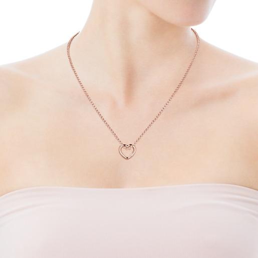 Collar Hold corazón de Plata Vermeil rosa