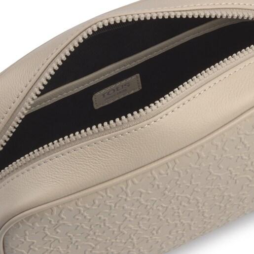 Small beige leather Sira crossbody bag