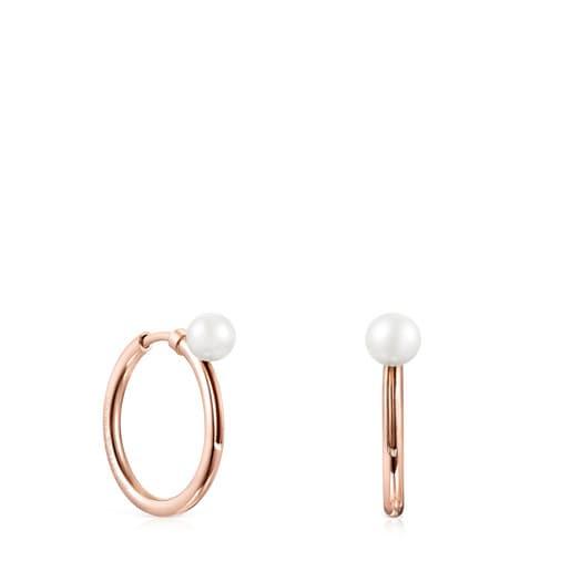 Pendientes aro medianos TOUS Basics de Plata Vermeil rosa con Perla