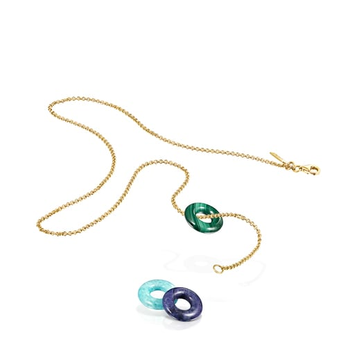 Collaret Hold Gems de Plata Vermeil amb Malaquita, Amazonita i Lapislazuli