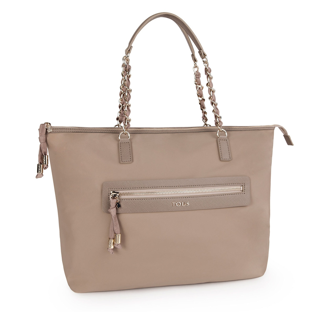 Taupe colored Canvas Brunock Chain Tote bag
